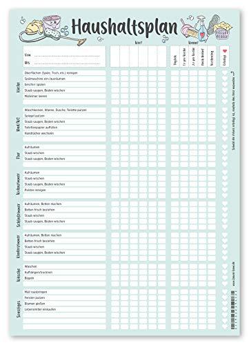 KAWAI-KAMI Haushaltsplan Putzplan für Familien mit Kindern oder WG, Haushaltsplaner, Putzkalender, Frühlingsputz, Haushalt Organizer, DIN A4 Block, 90gr Papier
