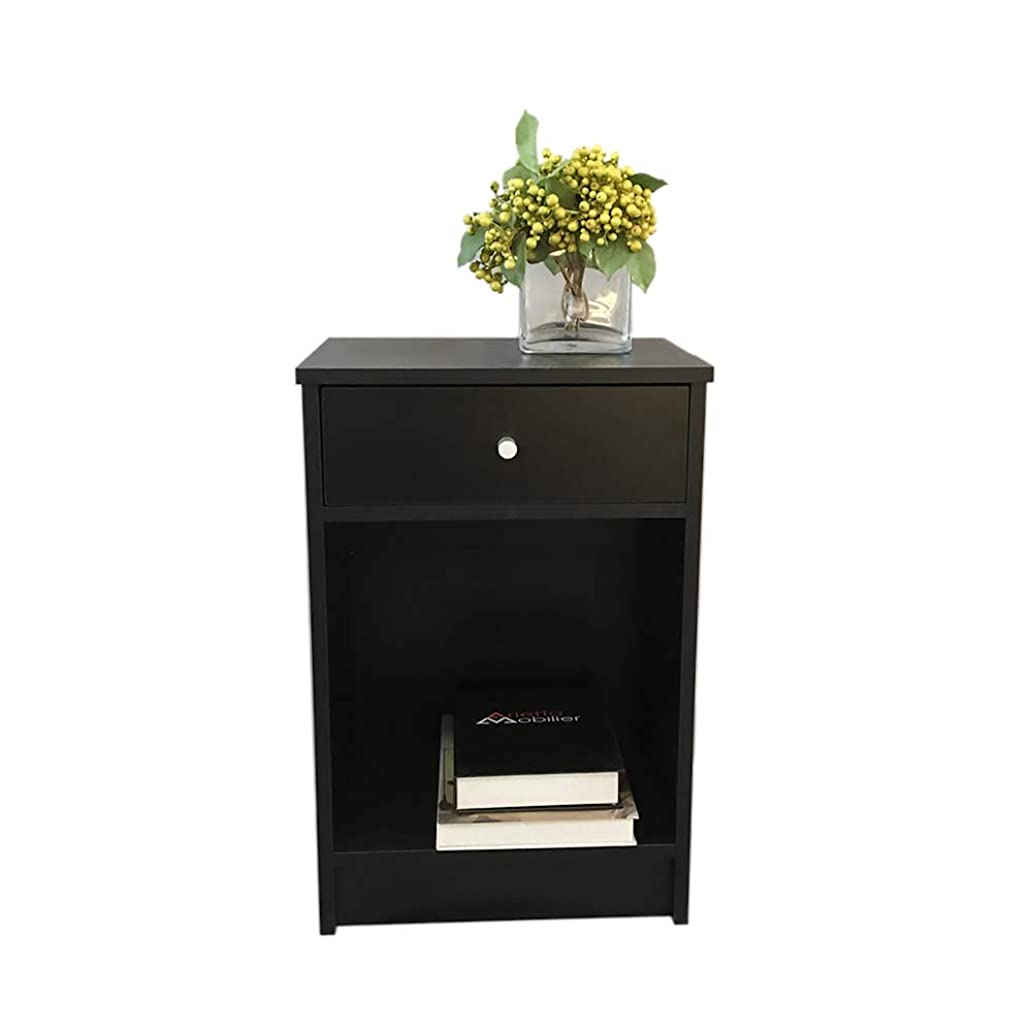 Classic Black Finish Night Stand Bedside End Side Table Accent Table with One Drawer & Lower Shelf, 15.8 x 12 x 23.6 Inches ofa5679116