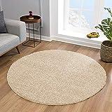 Impression Teppich Rund - Perfect Teppiche fürs Wohnzimmer, Flur, Schlafzimmer, Kinderzimmer, Babyzimmer - Hochwertiger Öko-Tex Zertifizierter Flächenteppich - Solid Color Beige - 150 cm Rund