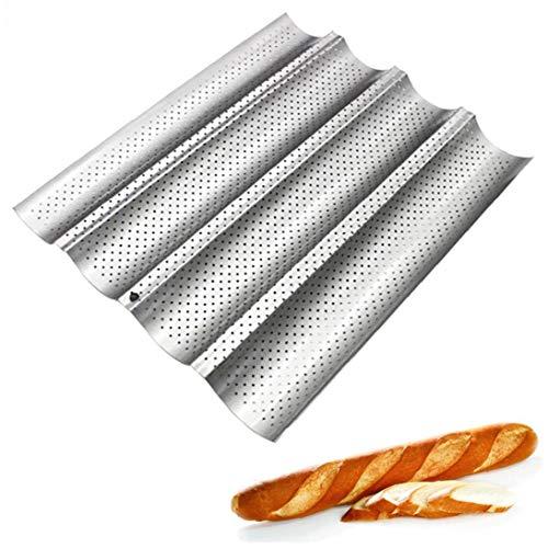 Baguette Cacerola del Molde De Antiadherentes De Recubrimiento Perforadas Baguette Sartenes para Hornear Pan Francés Cocina Profesional Herramienta De Panaderos Pasta De Fabricación De Moldes (Plata