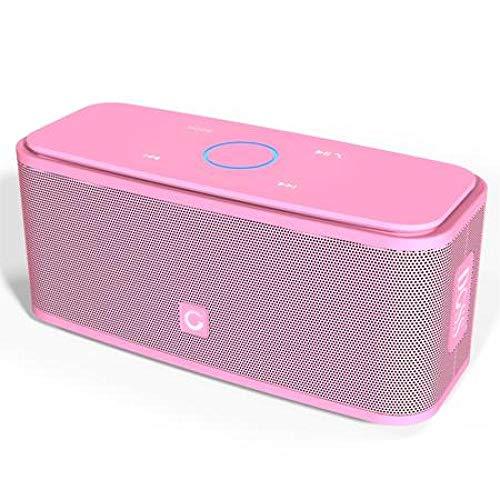 Altavoz Bluetooth Caja de Sonido Control táctil Altavoz Bluetooth Altavozinalámbrico portátil Caja estéreo con bajo y micrófono IncorporadoRosa