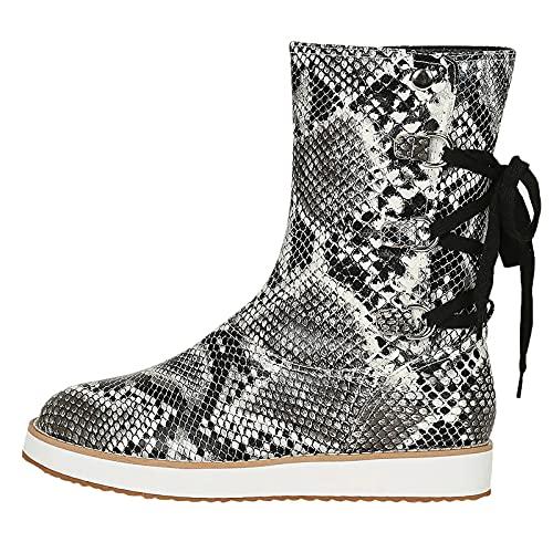 QIUTIANQ Botas De Mujer Cowboy con Cordones Botas Grandes De Encaje Cruzado con Costuras Retro Zapatos Casuales Sin Cordones De Tacón Bajo con Punta Redonda Antideslizante (Gris, 41)