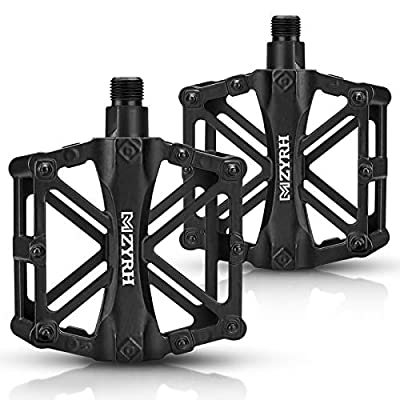 kemimoto Mountain Bike Pedals MTB Bicycle Flat Pedals, 9/16'' Aluminum Durable Sealed Bearing for Most Bikes BMX MTB Enduro Downhill Trail (Two Pack)
