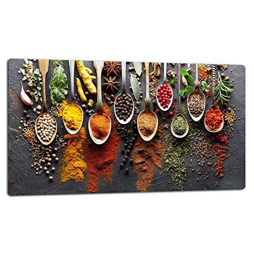 TMK | Glasschneidebrett, Herdabdeckplatte ceranfeld 1-telig, Glasschneideplatte, Spritzschutz, Universal Glasplate, 52x30 cm, motiv Gewürze