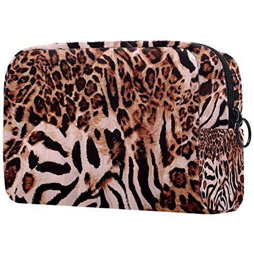 Frauen Make-up Tasche Mädchen Kosmetiktaschen Toilettenartikel Organizer Tasche mit Reißverschluss 7,3x3x5,1 Zoll Schöne Tiger Fell
