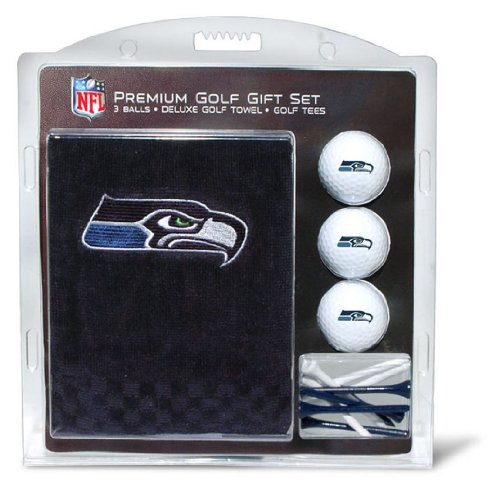 Team Golf 32820 NFL Seattle Seahawks Gift Set Embroidered Golf Towel, 3 Golf Balls, and 14 Golf Tees 2-3/4