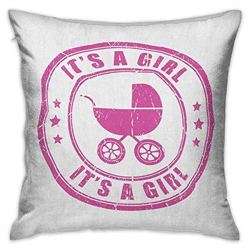 N\A Gender Reveal Square Kids Federa Grunge Its A Girl Retro Stamp with Baby Carriage Artistic Newborn Icon Image Fodere per Cuscini Fucsia Federe per Divano Camera da Letto Auto