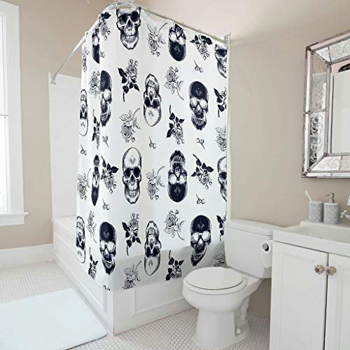 RQPPY Skull Duschvorhang Wasserabweisend 3D Digitaldruck Bad Duschvorhang White 180x200cm