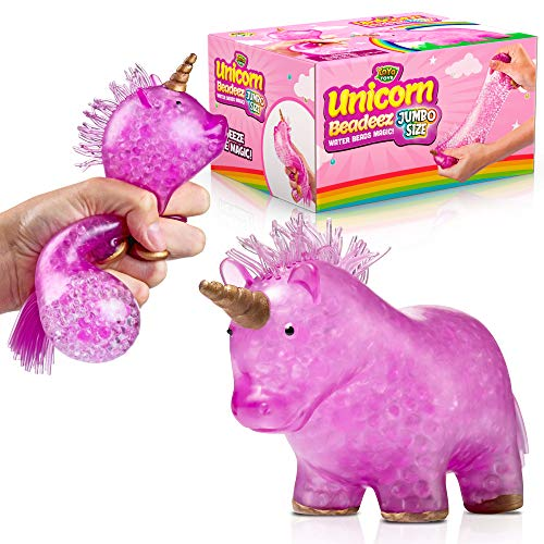 YoYa Toys Jumbo Unicorn Squishy Stress Balls Toy | Anxiety Relief Squeezing Squish Balls for Girls, Boys & Adults | Satisfying Sensory Toy with Colorful, Gel Water Beads Balls Inside