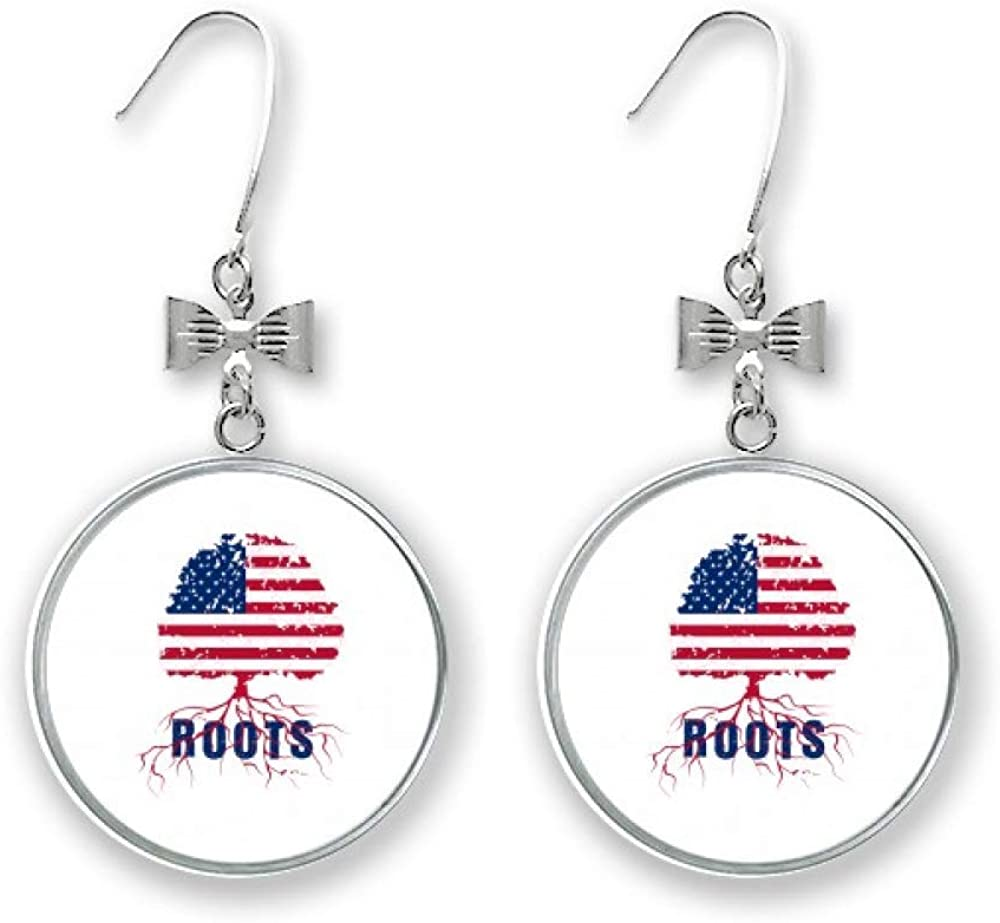 American Flag Root Complete Free Shipping Family Bow Pierced Hook Fashion Stud Drop Earrings