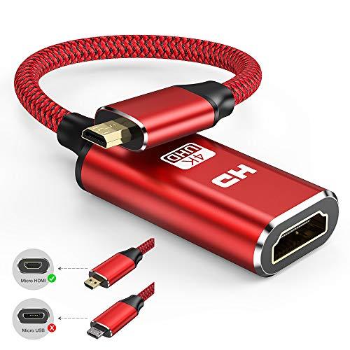 4k Micro HDMI auf HDMI Adapter - Snowkids Micro HDMI Adapter Nylon Geflecht Micro HDMi zu HDMI Kabel Unterstützt Ethernet 1080P 3D Kompatibel für Raspberry Pi 4,Gopro usw -Rot