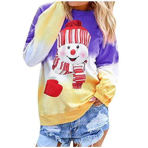 TWIFER Damen Kontrastfarbe Weihnachten Gedruckt Langarm Top Pullover Sweatshirt (a-Violett,XL)