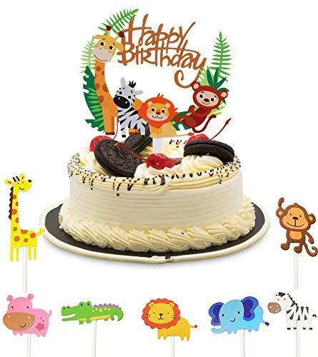 Cake Toppers Zoo,Kuchendeko Tiere,Geburtstag Tortendeko Junge,Kinder Baby Dusche Geburtstag Party Supplies,Tier Kuchendeckel Topper,Cupcake Deko Muffin Torten,Happy Birthday Tiere,Muffin Deko(43pcs)