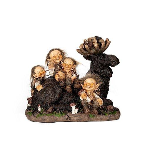 A.G.S. Deko Figur Troll Familie mit Elch GNOME Wichtel Dekoration Schweden Trollfamilie