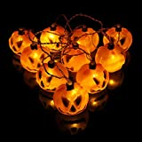 Shanke calabaza para Halloween Cadera luces Decoración para Halloween, Fiesta, Festival, Party 10 led 2M, Lamp Jack-o'-Lantern Lights Decoración de Halloween para exterior e interior