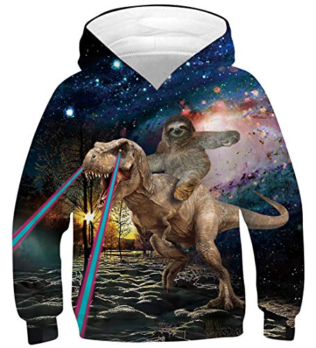 Starry Galaxy Hoody for Boys Cool Sloth Animal Graphic Hoodie Girls Casual Brown Round Neck Sweatshirts Children Lightweight Sports Hooded Teens Stylish Long Sleeve Clothes Autumn Fall, Dino Size 8-12