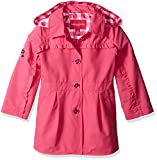 LONDON FOG Girls' Toddler Lightweight Trench Coat, Dynamite Pink, 4T