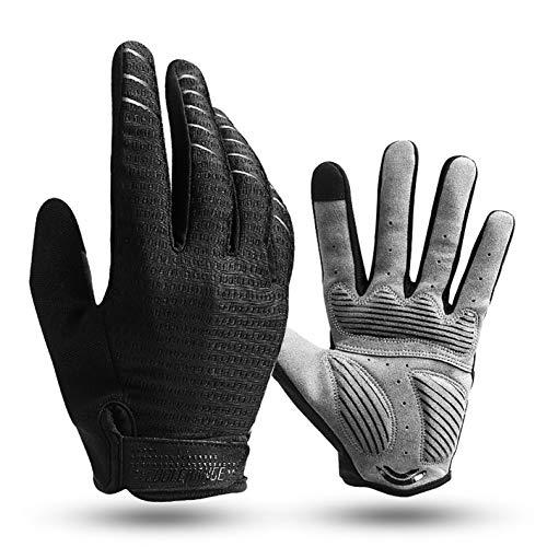JOGVELO Cycle Full Finger Gloves, Mountain Bike Gloves Fox Gel Padded Road Breathable for Men Women (Black, L