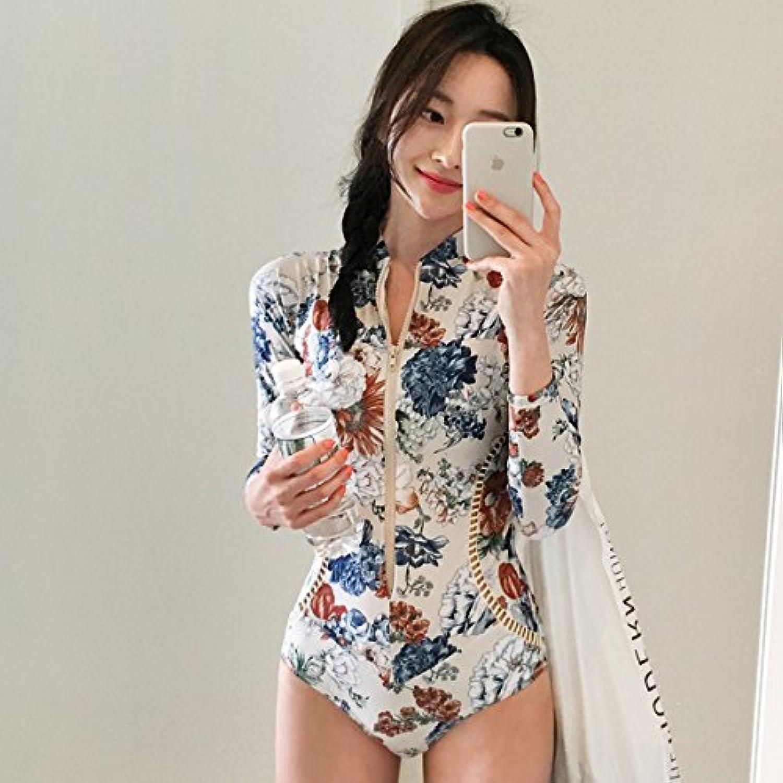 GAOLIM Hot Spring Quarter Split Swimsuit Girl with Chest Pad LongSleeved Wetsuit Fragile Flower Quality