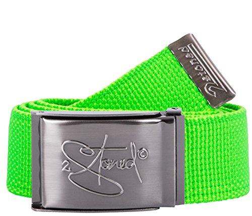 2Stoned Tresor-Gürtel Geldgürtel Neon-Grün 4 cm breit, matte Schnalle Geprägt, Gürtel für Damen