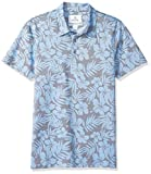 Amazon Brand - 28 Palms Men's Standard-Fit Performance Cotton Tropical Print Pique Golf Polo Shirt, Washed Blue Hibiscus Floral, Medium
