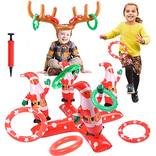 G.C Christmas Games 2 Pack Inflatable Santa Claus Reindeer Antler Ring Toss Game for Xmas Party Headband Family Throwing Toys Games