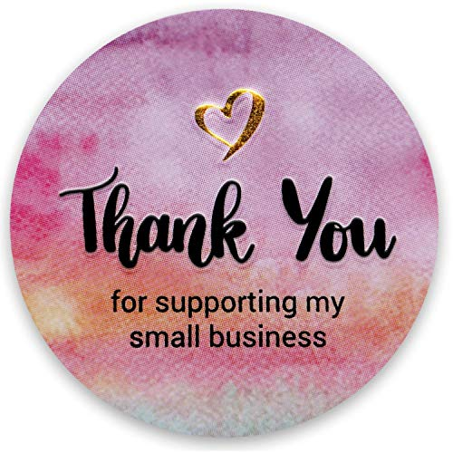 Modern 5th - Thank You for Supporting My Small Business Sticker Labels, Watercolor with Golden Heart (1.5' Round-400 Label Per Roll), Perfect for Online, Retail Store, Handmade Goods, Bakery and More