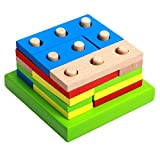 D DOLITY Geometría De Madera Bulding Block Puzzle Sort Stack Montessori Intelligence Toy