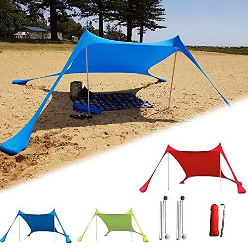 SUYUDD Tienda de campaña Tents Beach con Ancla de Arena, Toldo Sombrilla de Playa Resistente al Viento - Protección Solar Carpa Refugio Grande con 4 Bolsas de Arena de Anclaje