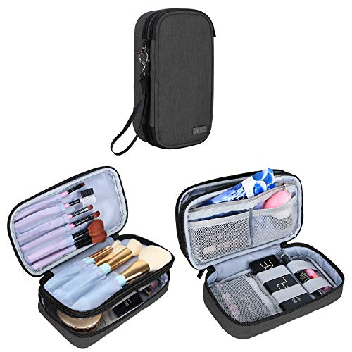 """Teamoy Travel Makeup Brush Bag(up to 8.5""""), Professional Cosmetic Artist Organizer Case with Handle Strap for Makeup Brushes and Beauty Supplies-Small, Black (No Accessories Included)"""