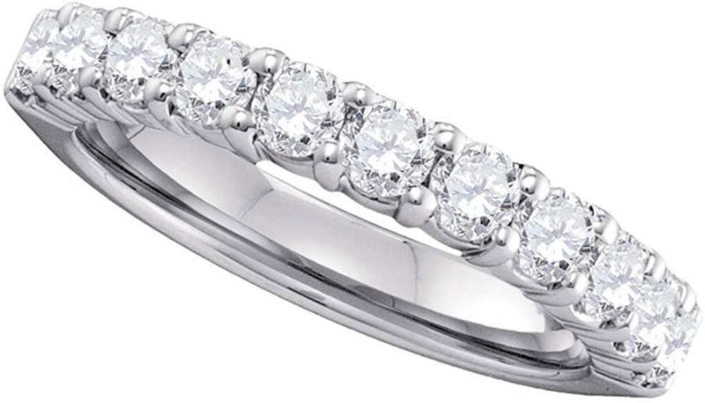 Solid Max 52% OFF 14k White Gold Round Save money Pave-set Ring Wedding Band Diamond 1.