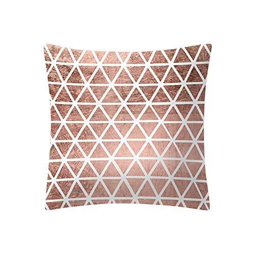 SANFASHION Taies d'oreiller Imprime Simple Element Couvre-lit décoratif,Housse de Coussin carrée Rose Or Home Decoratio, Tissu Super Doux -E