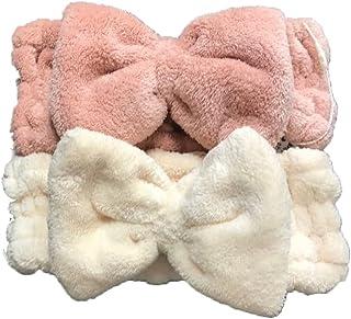 Ki-Shop 2 Pack Microfiber Bowtie Headband Women's Makeup Bow Hair bands -Double Layer Fabric - Good Stretching Comfortable...
