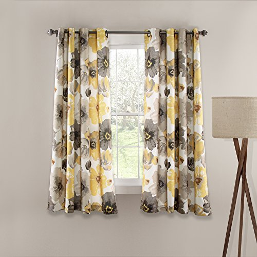 """Lush Decor Room Darkening Window Curtain Panel Pair Leah Floral Insulated Grommet, 63"""" L, Yellow and Gray"""