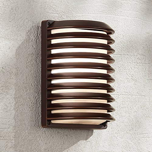 Modern Outdoor Wall Light Fixture Rubbed Bronze 10 Banded Grid Frosted Glass for Exterior House Porch Patio Deck - John Timberland