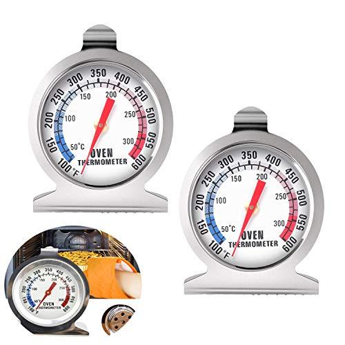 Termómetro para horno de 50 a 300 °C, 2 unids Grill Fry Chef Smoker Termómetro de acero inoxidable de lectura instantánea Termómetro de cocina para hornear barbacoa (plateado)