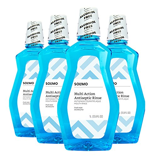 Amazon Brand - Solimo Multi Action Antiseptic Rinse, Alcohol Free, Fresh Mint, 1 Liter, 33.8 Fluid Ounces, Pack of 4