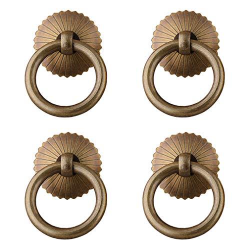 Tiazza 4 piezas de estilo chino de latón antiguo anillo de tirar de la manija gabinetes de cocina armario cajón muebles Hardware estilo retro pequeño anillo de tracción (bronce antiguo)