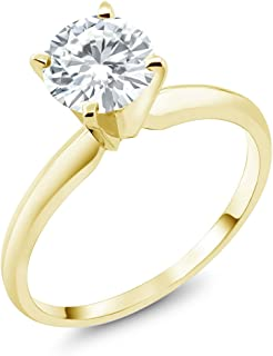 14K Yellow Gold Charles & Colvard Forever Classic 0.80 Cttw DEW Created Moissanite Solitaire Engagement Ring (Available in size 5, 6, 7, 8, 9)