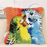DIY Craft Needle Ricamo Kit gancio del fermo for adulti grande cuscino fai da te cucito Uncinetto Ricamo Fermo gancio completo Cuscino kit Parrot 43 * 43 centimetri Kit per fabbricare tappeti a punto