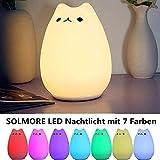 SOLMORE Veilleuse Chat LED USB Rechargeable Lampe de Chevet Lampe de Nuit Blanc Chaud...