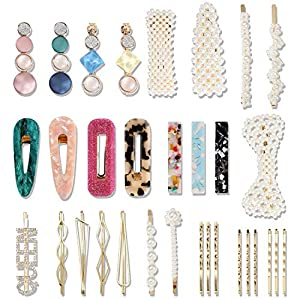 Beauty Shopping 32 Pcs Pearl Acrylic Large Medium Mini Hair Clips Pins Barrette Hair Clips for Women