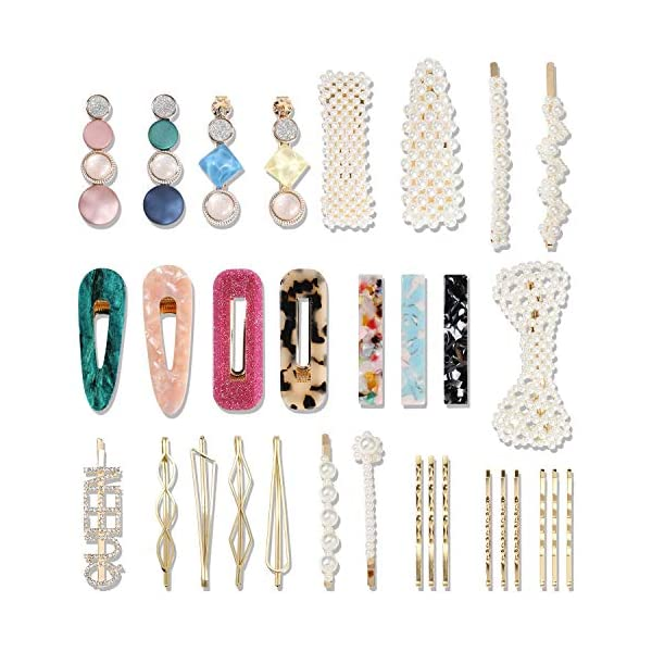 [category] 32 Pcs Pearl Acrylic Large Medium Mini Hair Clips Pins Barrette