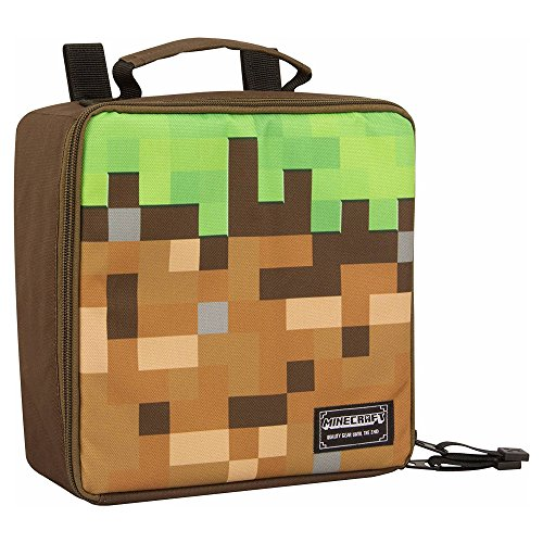 JINX Minecraft Dirt Block Insulated Kids School Lunch Box, Green/Brown, 8.5' x 8.5' x 4'