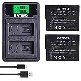 Batmax 2Pcs DMW-BLC12 DMW-BLC12E BLC12 Battery + Built-in USB LCD Dual Charger with Type C Port for Panasonic Lumix DMC-FZ200, DMC-FZ1000, DMC-G5, DMC-G6, DMC-G7, DMC-GX8, DMC-G85, DMC-GH2 Cameras