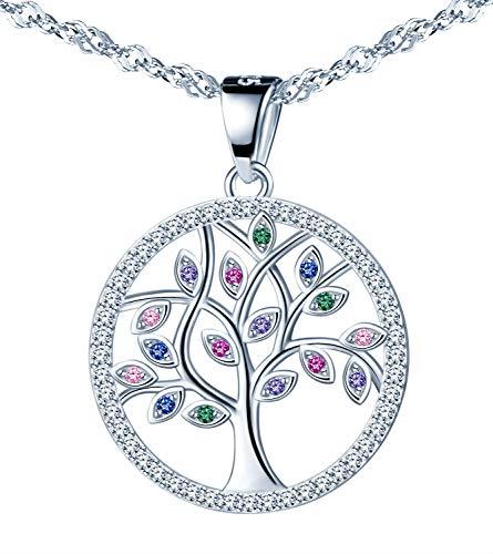 CPSLOVE Elegante Collar Árbol de la Vida, Con incrustaciones de circón brillante, Colgante de plata esterlina 925 para mujer, regalo de cumpleaños de Navidad y de San Valentín