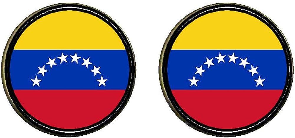 GiftJewelryShop Bronze Retro Style Venezuela flag Photo Clip On Earrings 14mm Diameter