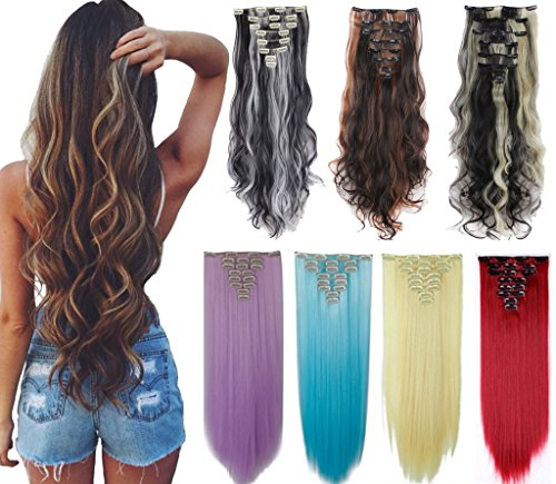 Beauty Shopping DODOING 8Pcs 18 Clips 17-26 Inch Curly Straight Full Head Clip In On Hair Extensions