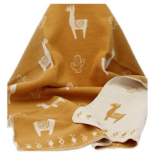 David Fussenegger - Babydecke -Kinderdecke - Decke - Juwel - Lamas - Goldgelb - 70 x 90 cm
