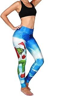 Queen Area Women's Santa Digital Print High Waist Stretch Yoga Pants One Size